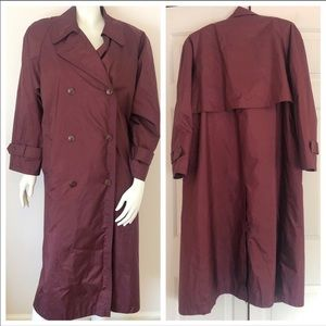 Jessica Simpson burgundy button long trench coat